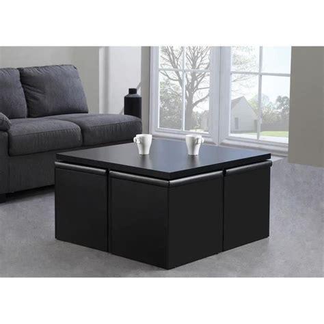 caisson bureau noir lila table basse carrée 80x80cm blanc mat 4 poufs en