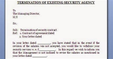 security agency contract termination letter format