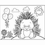 Porcupine Coloring Animals Printable sketch template