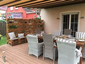 Terrasse Aus Europaletten : dekorativer mobiler windschutz aus europaletten windschutz f r die terrasse pinterest ~ Orissabook.com Haus und Dekorationen