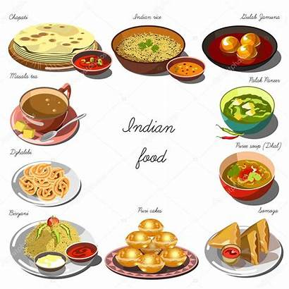 Indian Vector Illustration Cuisine Clipart Dishes Banner