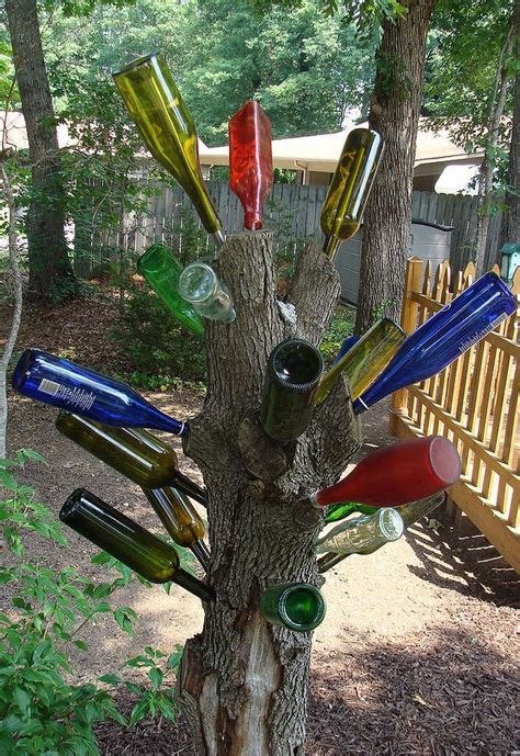 ideas    enhance  garden  glass bottles