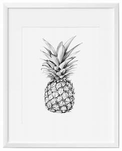 Pineapple Wall Art, Art Print, Black and White