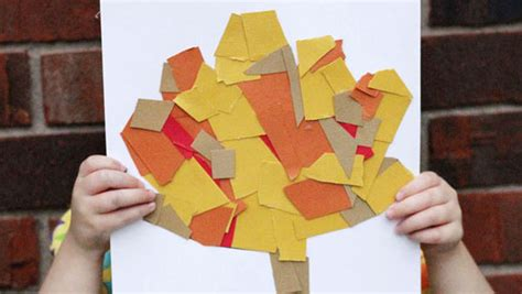 cut  paste fall leaf collage  kids keeping life
