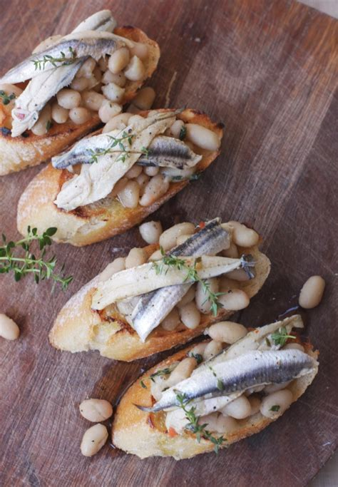 Crostini with cannellini and white anchovies | Emiko Davies