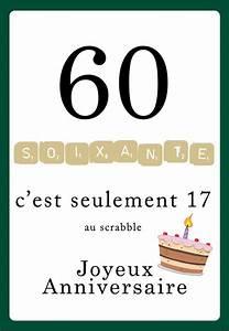 Faire Part Anniversaire 60 Ans : carte anniversaire scrabble 60 ans 123 cartes ~ Edinachiropracticcenter.com Idées de Décoration