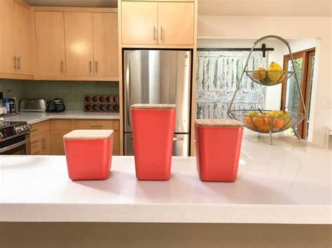 kitchen canisters set bamboo fiber kitchen canister 3 set with airtight