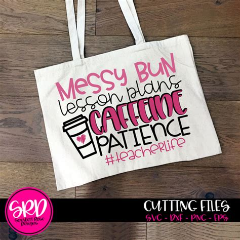 Messy bun hair with long black eyelashes, black brows, hair bow and bandana (leopard print and golden glitter) handwritten lettering quote: School SVG, Messy Bun, Lesson Plans, Caffeine, Patience # ...