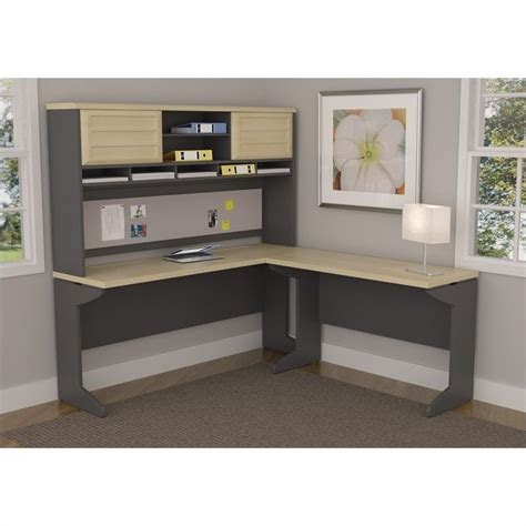 gray desk with hutch l shaped desk with hutch in natural and gray 9849096