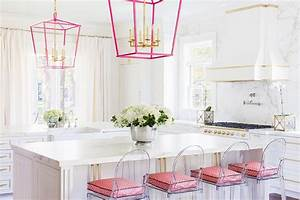 alyssa rosenheck white and pink kitchen with pink lanterns With what kind of paint to use on kitchen cabinets for pink marble wall art