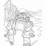 Ark Covenant Coloring Carrying Priests River Pages Testament Template Came Printable Getcolorings Biblecoloringpages sketch template