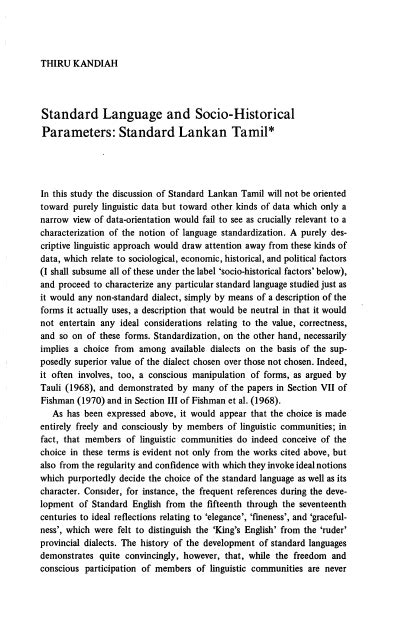 Standard Language and Socio-Historical Parameters