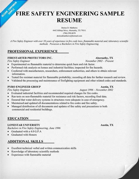 health and safety engineer sle resume