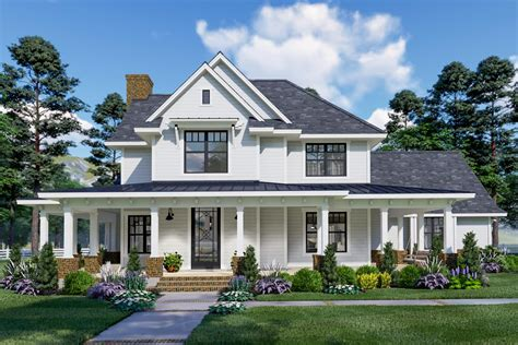 eye catching modern farmhouse   story great room wg architectural designs