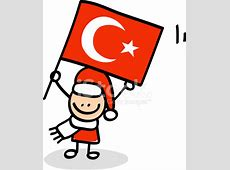 Boy With Turkey Flag Cartoon Illustration stock photos