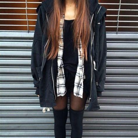 Shirt hipster grunge coat fall outfits knee high socks flannel shirt jacket grunge ...