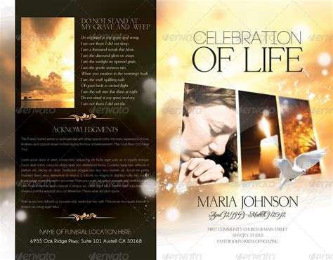celebration  life funeral program brochure template