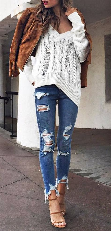 Best 25+ Ripped jeans outfit ideas on Pinterest | Outfit goals Ripped jeans and Distressed ...
