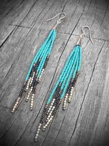 Native American Seed Bead Fringe Earrings