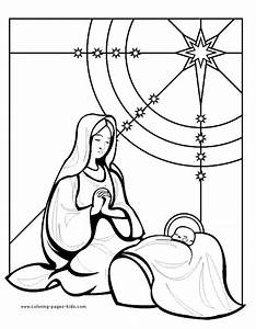 christmas coloring pages for children s church - mary and baby jesus color page religious christmas color