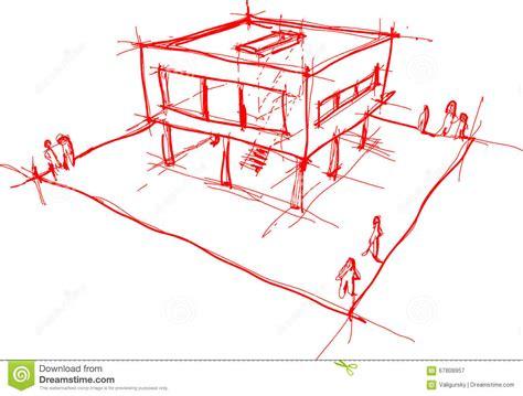 Moderne Hausskizze Vektor Abbildung Illustration Von