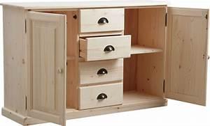 Meuble Cuisine Bois Naturel : meuble bois brut 2 portes 4 tiroirs ~ Premium-room.com Idées de Décoration