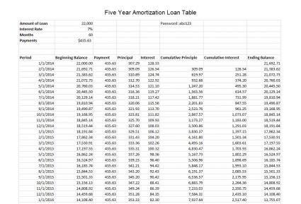 create  auto loan amortization spreadsheet