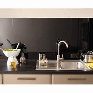 Plan De Travail Cuisine Castorama : cr dence en verre noire 90x65 cm castorama ~ Dailycaller-alerts.com Idées de Décoration