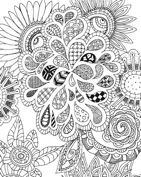 flowers  leaves zen tangle coloring page