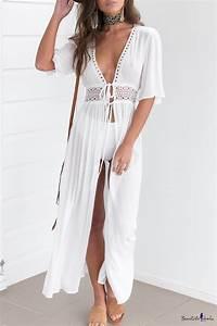 hot fashion plunge neck half sleeve lace hollow out plain With robe d été fluide