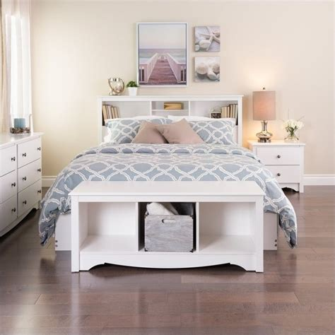 White Headboard Bench by Prepac Monterey White Cubby Bench Bedroom Benche Ebay