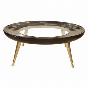 large round brass and wood coffee table at 1stdibs With wood and brass coffee table