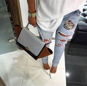 Jeans light blue jeans outfit tumblr outfit ripped jeans fashion shoes top boyfriend ...