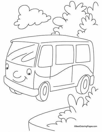 Van Coloring Pages Jungle Hippie Sketch Vans