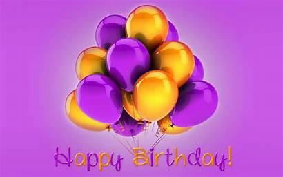 Birthday Happy Wallpapers Purple Yellow Balloons