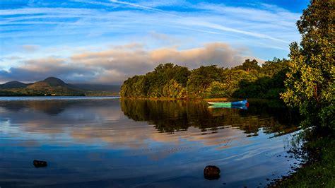 fonds decran irlande lac bateau ciel mayo nature