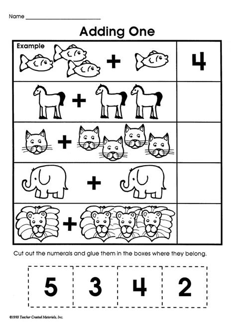Adding One  Printable Addition Worksheet For Kids  Kids Educational Resources Pinterest