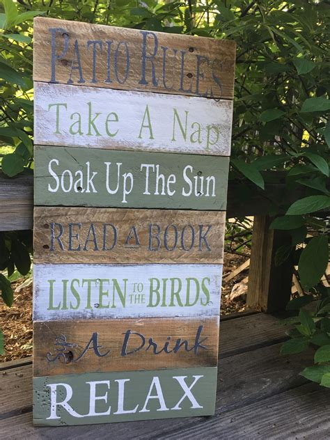 rustic sign patio rules pallet sign sunroom decor