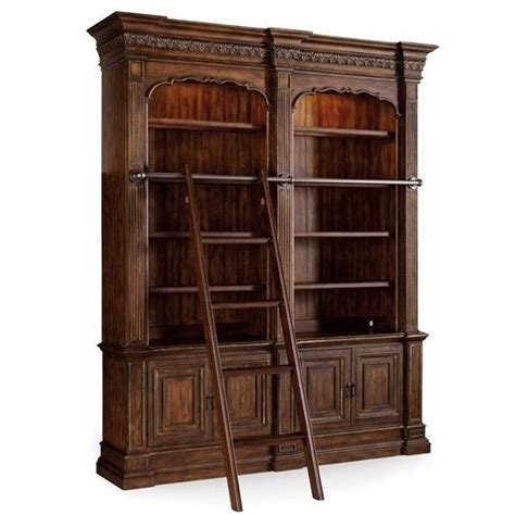 bookcase with ladder and rail hooker furniture adagio double bookcase with ladder and