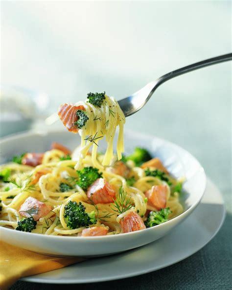 cuisine brocolis recette spaghettis au saumon frais et brocolis