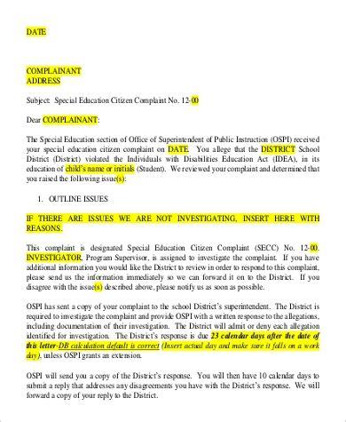 complaint letter sample  sample  format