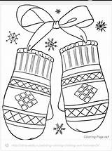 Coloring Winter Mittens sketch template