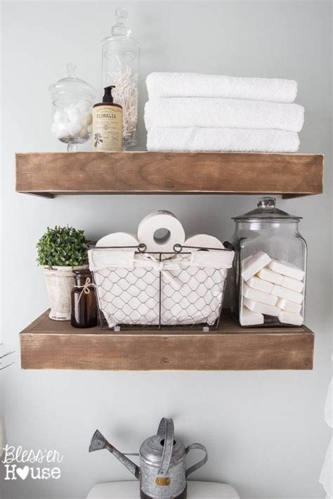 Decorating Ideas For A Bathroom Shelf by Modern Farmhouse Bathroom Makeover Reveal