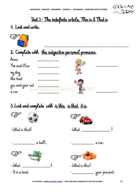 grammar exercises with pictures demonstrative pronouns 2