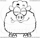 Drunk Sheep Cartoon Clipart Coloring Outlined Vector Cory Thoman Royalty sketch template