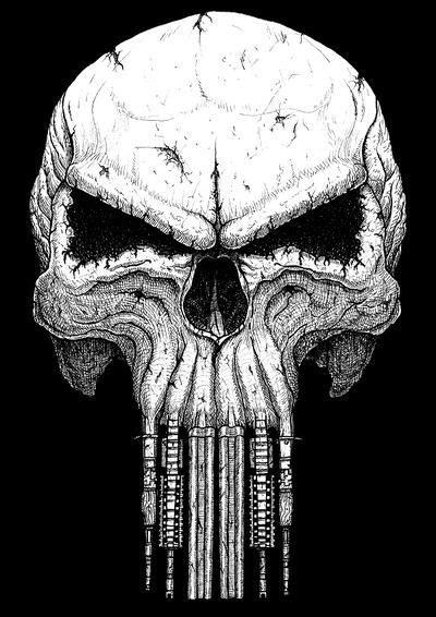 Skull with teeth from guns by GrimsoulArt | Punisher artwork, Punisher art, Skull art