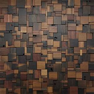 Stacked square wood wall design woodwall walldesign for Wood designs for walls