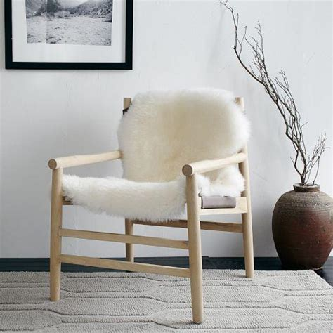 leather fur sling chair west elm