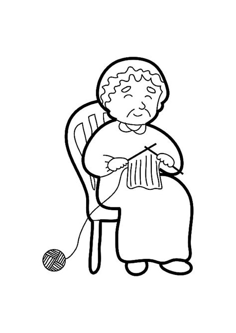 grandmother  telling story  knitting coloring pages color luna