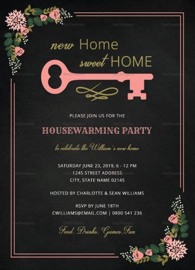invitation cards templates for housewarming chalkboard housewarming invitation template in 2019